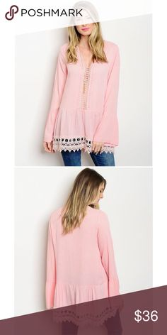 Blush Boho Bell Sleeve Tunic Top Blush Boho Bell Sleeve Tunic Top. Perfect top for Spring. Price is Firm Unless Bundled. No Trades. GlamVault Tops Tunics