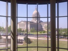 Oklahoma State Capitol -- taken from inside the Oklahoma History Center    Darla, isn't this the same window you took the picture you sent me from? Let me know if you see this....