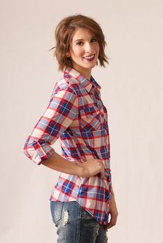 Red, white, and blue plaid button down with roll up sleeves. Pair with destroyed denim or leggings for a perfect casual look. #May23Online