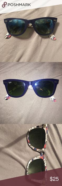 Ray Ban Wayfarer Navy blue ray ban wayfarers with a British pattern on the inside interior Ray-Ban Accessories Sunglasses