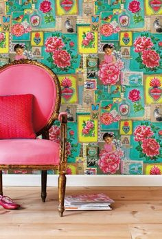 pink chair ... vintage wall paper!