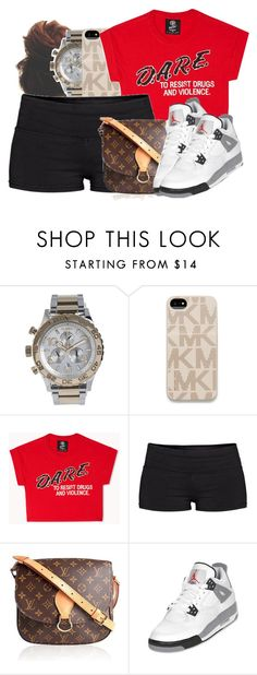 """""""Next time we f*ck, I don't wanna f*ck, I wanna make love. Next time we talk, I don't wanna just talk, I wanna trust. Next time I stand tall I wanna be standin' for you.♥"""" by jamilah-rochon ❤ liked on Polyvore featuring Nixon, Michael Kors, Forever 21, TNA and Louis Vuitton"""