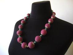 Pink merino wool felt necklace for women texstil jewelry   Etsy