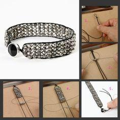 DIY Armbånd Knytte Facet Perler – Hair – Hair is craft Homemade Bracelets, Homemade Jewelry, Leather Jewelry, Beaded Jewelry, Beaded Bracelets, Leather Cord, Diy Schmuck, Schmuck Design, Bracelet Crafts