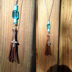Brown wire wrapped leather tassel necklace by TexasMadeJewelry