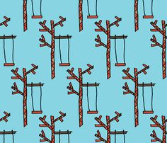 Tree and a Swing on Sky Blue fabric by anniedeb on Spoonflower - custom fabric