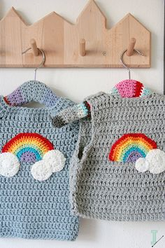 "Crochet baby sweater and vest clouds and rainbow ""Rainbow, rainbow.it's a rainy sunny day.""If you have a little baby or a toddler you probably already know these words.I never thought that Peppa Pig would become my inspiratio… Rainbow Crochet, Love Crochet, Crochet For Kids, Easy Crochet, Knit Crochet, Crochet Hats, Knitted Hats, Crochet Baby Sweaters, Crochet Baby Clothes"
