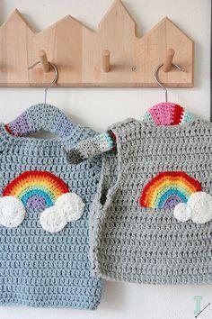 Crochet chaleco del bebé nubes y arco iris por idalifestyle