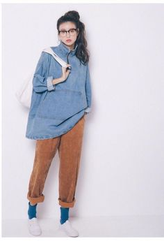 orange velvet pants w/ denim blouse + white sneakers & blue socks Set Fashion, Girl Fashion, Fashion Outfits, Fashion Ideas, Denim Blouse, Androgynous Fashion, Velvet Pants, Pinterest Fashion, Looks Style