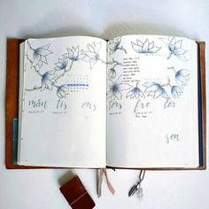 bujobylinnea Next weeks spread. Haven't used blue that much in my bujo, but I really like how the flowers turned out. Kinda icy/frosty, just like the weather here.