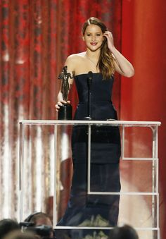 Jennifer Lawrence accepting the Actor for Best female actor in a leading role. SAGs2013