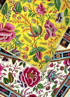Toile de Jouy avec motifs floraux, Photo Musée de la Toile de Jouy