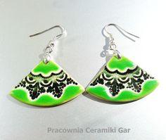 green ceramic earrings , #ceramicjewerly, #ceramichandmadejewerelly, craft , #earrings, #ceramikagar