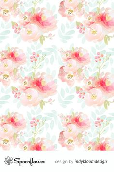 Indy Bloom Pink Plush Florals A custom fabric by indybloomdesign for sale on Spoonflower Shabby Chic Fabric, Custom Printed Fabric, Spoonflower Fabric, Fabric Wallpaper, Handmade Home Decor, Surface Pattern Design, Decoration, Watercolor Flowers, Illustration