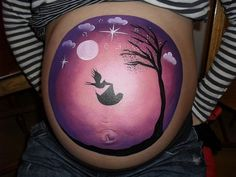 Crazy Faces Face Painting Barry Cardiff - Pregnancy Bump Painting