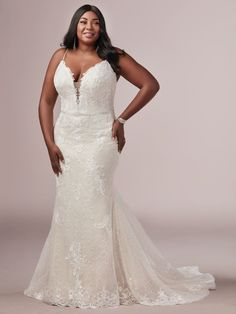 Rebecca Ingram - LAURETTE LYNETTE, Give those curves the attention they deserve with this plus-size sheath wedding dress. It flatters, forms, and fits like a glove in all the right places. Maggie Sottero Wedding Dresses, Lace Wedding Dress, Sexy Wedding Dresses, Designer Wedding Dresses, Ivory Wedding, Nude Gown, Blush Gown, Plus Size Wedding Gowns, Affordable Wedding Dresses