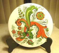 Vintage BERGGREN Porcelain Rosemaling