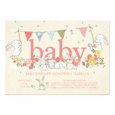 Adorable Bunny Girls Baby shower Invitation