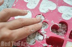 Bath Bomb Gifts Kids Can Make; red ted; oil, baking soda, essential oil, water, food coloring