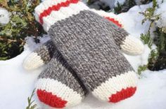 Sock Monkey Mittens on Etsy. I would loved to make a fleece lined version of these as I can't wear wool. Maybe I could buy Dollarama red fleece mittens and sew a fleece cuff on to match and connect the two layers. Crochet Mittens, Mittens Pattern, Crochet Gloves, Knit Or Crochet, Knitted Hats, Sweater Mittens, Loom Knitting, Hand Knitting, Knitting Patterns