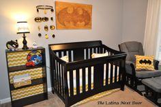 Learn how you too can create a wonderful batman nursery for your little one. Lots of DIY projects to help you save on creating the dream room for your baby. Baby Batman, Batman Nursery, Batman Bedroom, Baby Boy Rooms, Baby Boy Nurseries, Baby Cribs, Nursery Themes, Nursery Room, Nursery Ideas