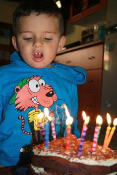 Blowing out candles for daddy's birthday!