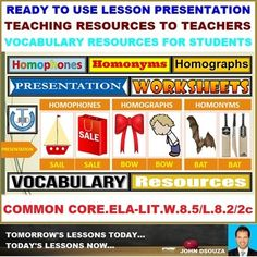 A Lesson Presentation that presents Teaching Resources in Homophones, Homographs, and Homonyms. This presentation presents perfect teaching resources that will help the teachers to walk into the classroom with ready to teach confidence as it covers all that a teacher