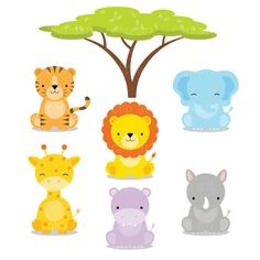 free baby animal clip art paper parties baby safari clip art rh pinterest com baby animal clip art images baby animal clip art images