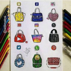 Social Media Handbags By: @willmatos _  Follow @universeofartists for more