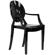 Rove Concepts Ghost Armchair - Louis - Solid Black Reproduction ($175) ❤ liked on Polyvore featuring home, furniture, chairs, accent chairs, stackable chairs, ghost arm chair, outside furniture, black accent chair and black stackable chairs