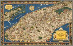 Карта диковинного острова Манхэттена (1926) / A map of the wondrous isle of Manhattan. Charles Vernon Farrow / Изображение с сайта davidrumsey.com
