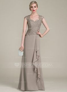 [US$ 139.99] A-Line/Princess Sweetheart Floor-Length Chiffon Lace Mother of the Bride Dress With Cascading Ruffles