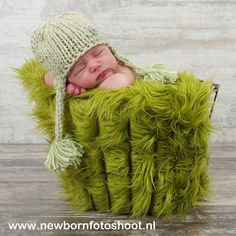 """Olive Green Newborn Baby Boy or Girl  Mongolian 3"""" Pile Faux Fur Blanket, Great for photo prop"""