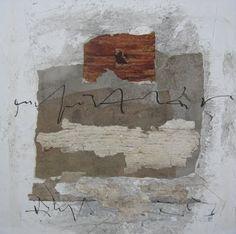 """Traces entre murs  Techniques mixtes sur toile  16"""" x 16""""  2011  Francine Vernac"""