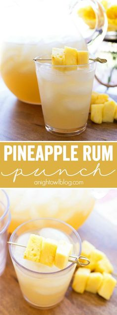 Punch Pineapple Rum Punch – The perfect mix of tropical flavors in one amazing and easy to make party drink!Pineapple Rum Punch – The perfect mix of tropical flavors in one amazing and easy to make party drink! Party Drinks, Cocktail Drinks, Cocktail Recipes, Drink Recipes, Margarita Recipes, Bourbon Drinks, Party Recipes, Vegaterian Recipes, Bartender Recipes