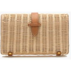 J.Crew Rattan clutch ($88) ❤ liked on Polyvore featuring bags, handbags, clutches, bolsa, purses, man bag, hand bags, long hand bags, beige handbags and beige clutches
