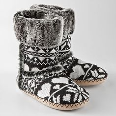 Black & White Slipper Boots w/ Hearts