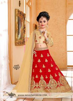 Ravishing Red & #Beige #Embroidered #Kids #Lehenga Choli