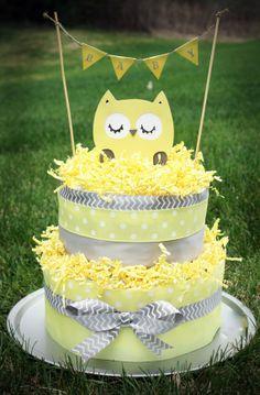 Neutral Chevron 2-Tier Gray & Yellow Owl Diaper Cake by AddiOliveDiaperCakes