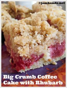 Jam Hands: Big Crumb Coffee Cake with Rhubarb Top with quickly glaze cup powdered sugar 1 tbsp milk) when cooled. Make day before you want to eat it. Big Crumb Coffee Cake with Rhubarb Natalie Jessop nnjessop Recipes- Tried and True Jam Hands: Brownie Desserts, Mini Desserts, Rhubarb Desserts, Oreo Dessert, Just Desserts, Delicious Desserts, Recipes For Rhubarb, Rhubarb Recipes With Sour Cream, Gluten Free Rhubarb Recipes