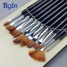 12Pcs Paint Brushes Set Nylon Hair Painting Brush Variety Style Short Rod Oil Acrylic Brush Watercolor Pen Art Supplies