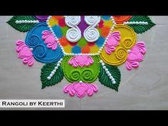 Simple rangoli design l lotus rangoli l महालक्ष्मी साधी, सुंदर रांगोळी l rangoli by keerthi l kolam - YouTube Easy Diwali Rangoli, Diwali Special Rangoli Design, Best Rangoli Design, New Year Rangoli, Diya Rangoli, Rangoli Designs Diwali, Simple Rangoli, Rangoli Designs Peacock, Colorful Rangoli Designs