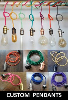 Any Color Custom Pendant Lighting- Bare Bulb Edison Lamp Modern Industrial Chandelier- Hardwired or Plug In Vintage Antique Cord