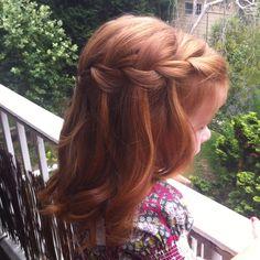 Waterfall braid on gorgeous little girl. #red head #waterfall braid