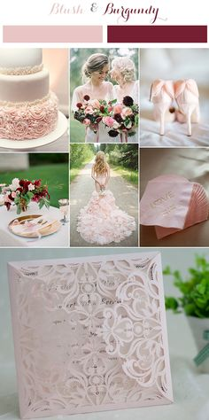 blush pink and burgundy wedding colors and laser cut wedding invitations