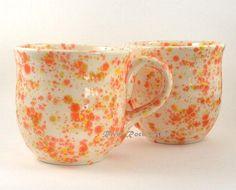 Large Orange, Yellow, and White Ceramic Mug Set by RiverRockArts, $45.00 USD