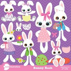 Easter Bunny Clipart AMB-370 by AMBillustrations on @creativemarket