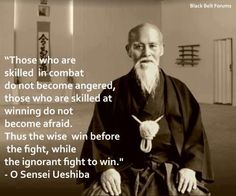 """""""Those who are skilled in combat do not become angered, those who are skilled at winning do not become afraid. Thus the wise win before the fight, while the ignorant fight to win."""" O Sensei Ueshiba"""
