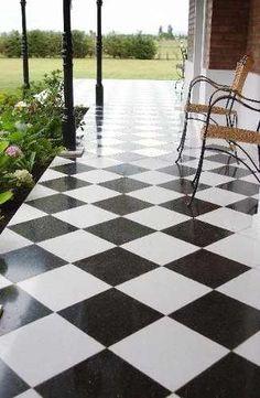 damero mosaico granítico 30x30 blanco y negro pulido