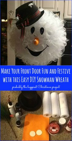 Make Your Front Door Fun and Festive with this Easy DIY #Snowman #Wreath - Probably the cutest #Christmas project!